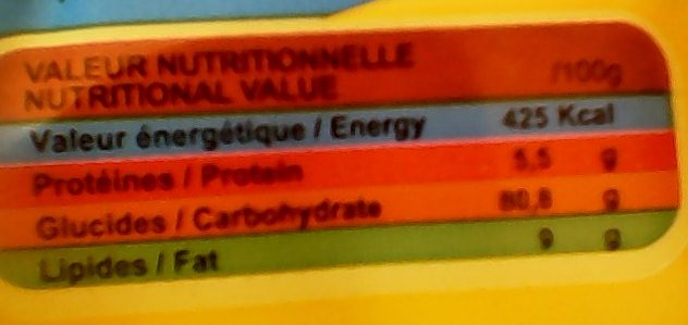 Turbo saveur Vanille - Informations nutritionnelles