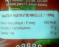 TSIKY NACKS KETCHUP - Informations nutritionnelles