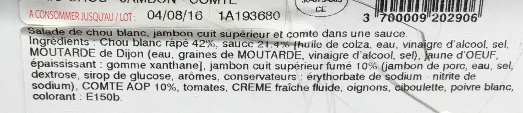 Trio Chou - Jambon - Comté - Ingrédients