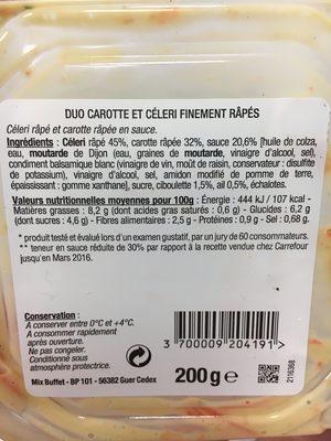 Duo carotte et céleri finement râpés - Ingrédients - fr