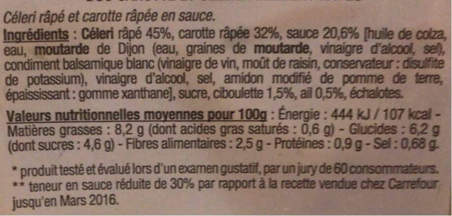 Duo carotte et céleri finement râpés - Informations nutritionnelles - fr