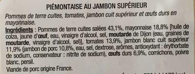 Piémontaise au jambon supérieur - Ingrédients