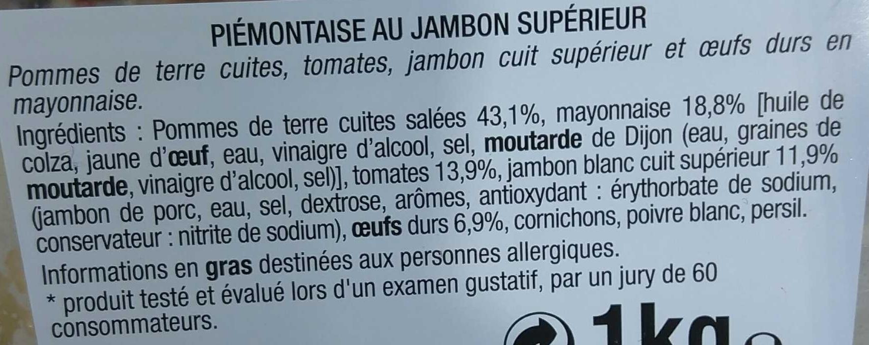 Piémontaise au Jambon Supérieur - Ingrédients - fr