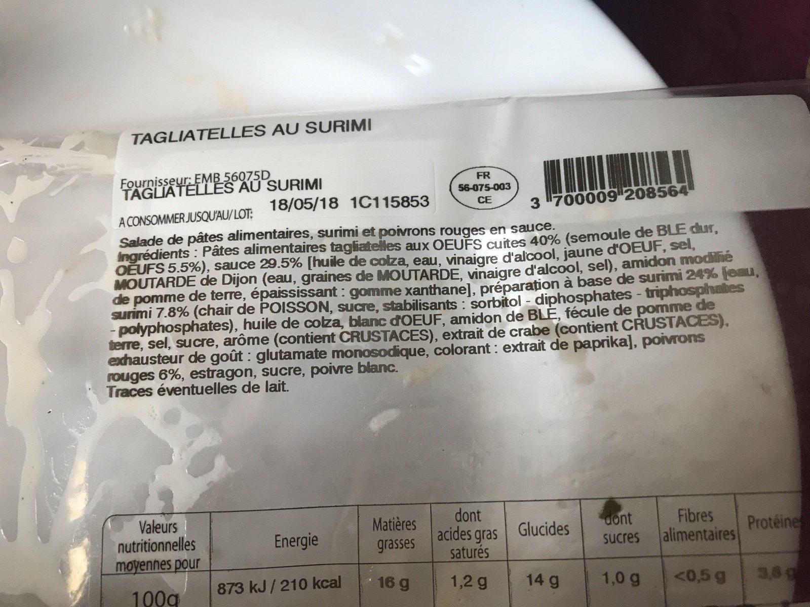 Tagliatelles au Surimi - Ingredients - fr