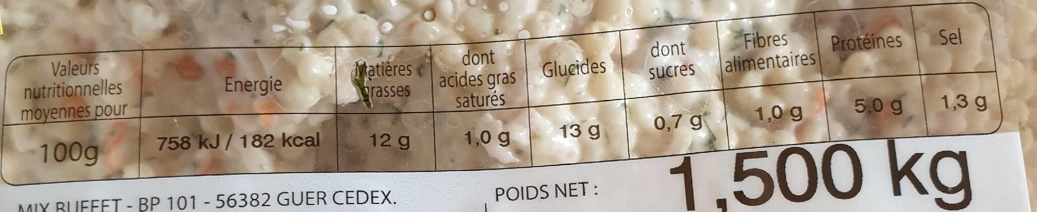 Salade de perles oceane - Nutrition facts - fr