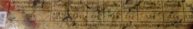 Taboulé - Informations nutritionnelles - fr
