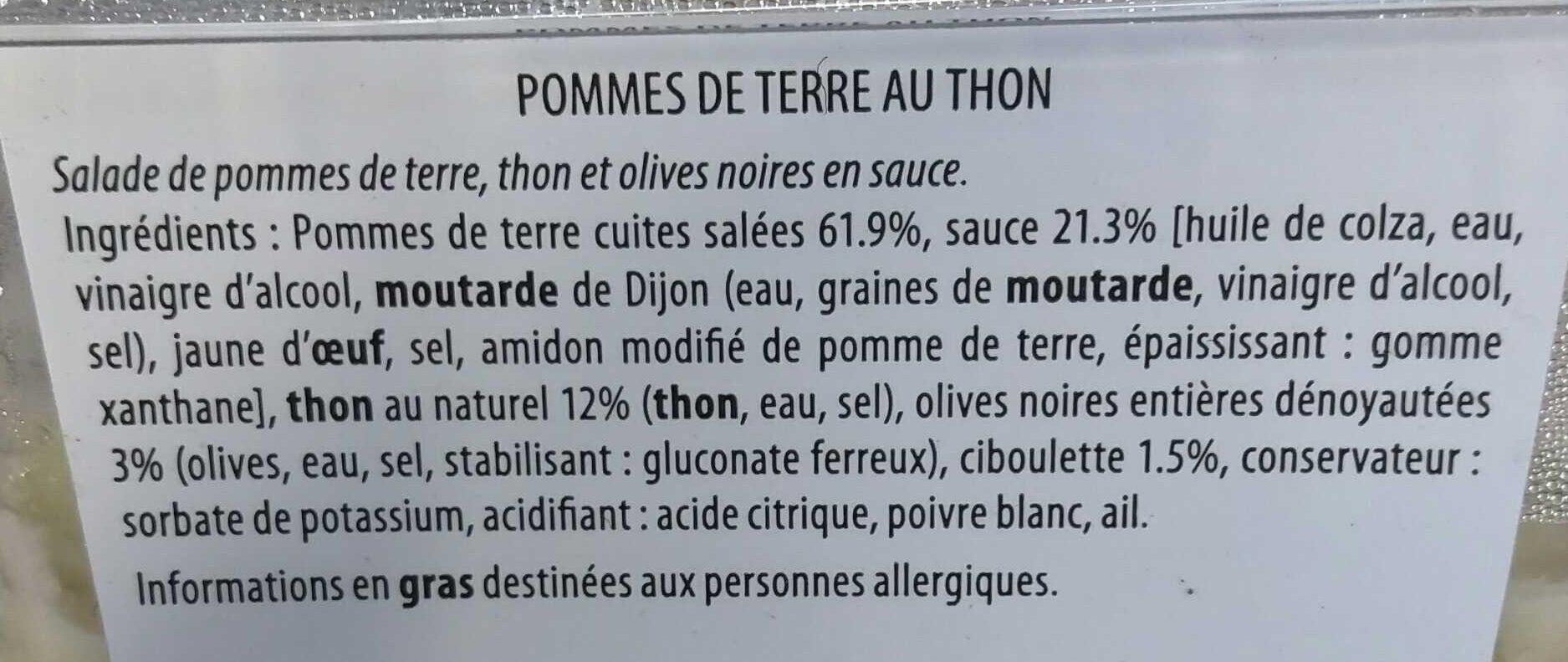 Pommes de terre au thon - Ingrédients - fr