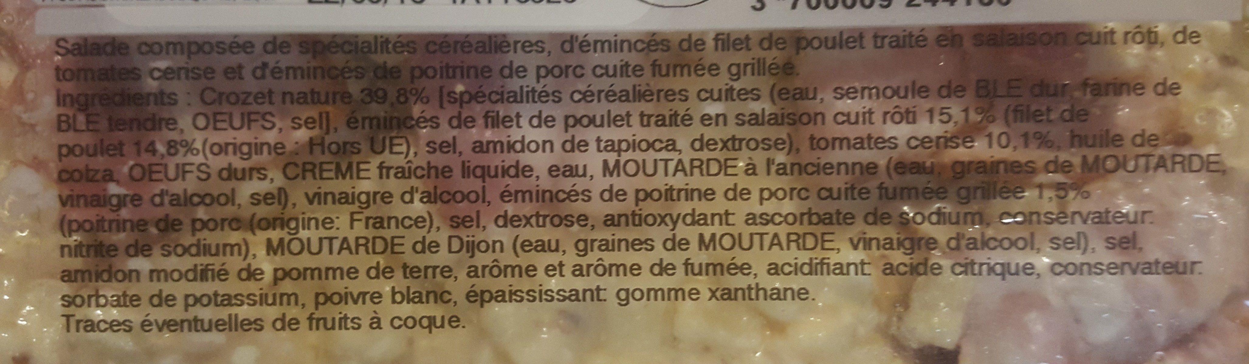Salade de crozets au poulet et bacon - Ingrédients