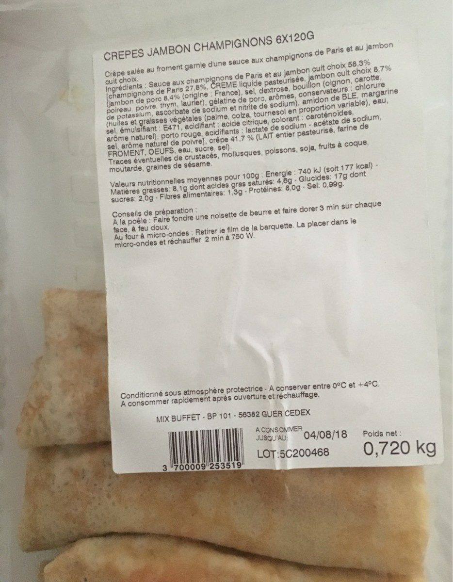 Crepes jambon champignon. 6x 120 gr - Produit - fr