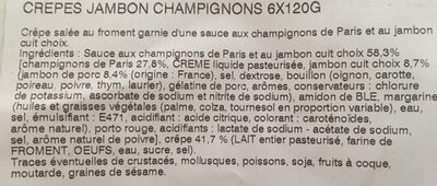 Crepes jambon champignon. 6x 120 gr - Ingrédients - fr