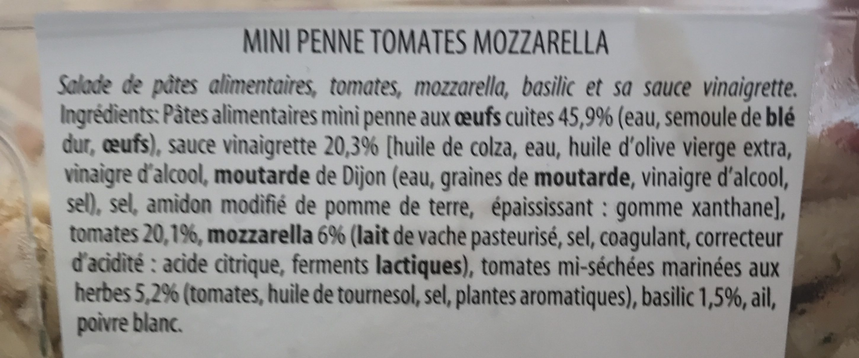 Mini Penne Tomates Mozzarella - Ingredients