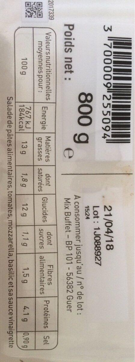 Mini Penne Tomates Mozzarella - Informations nutritionnelles - fr