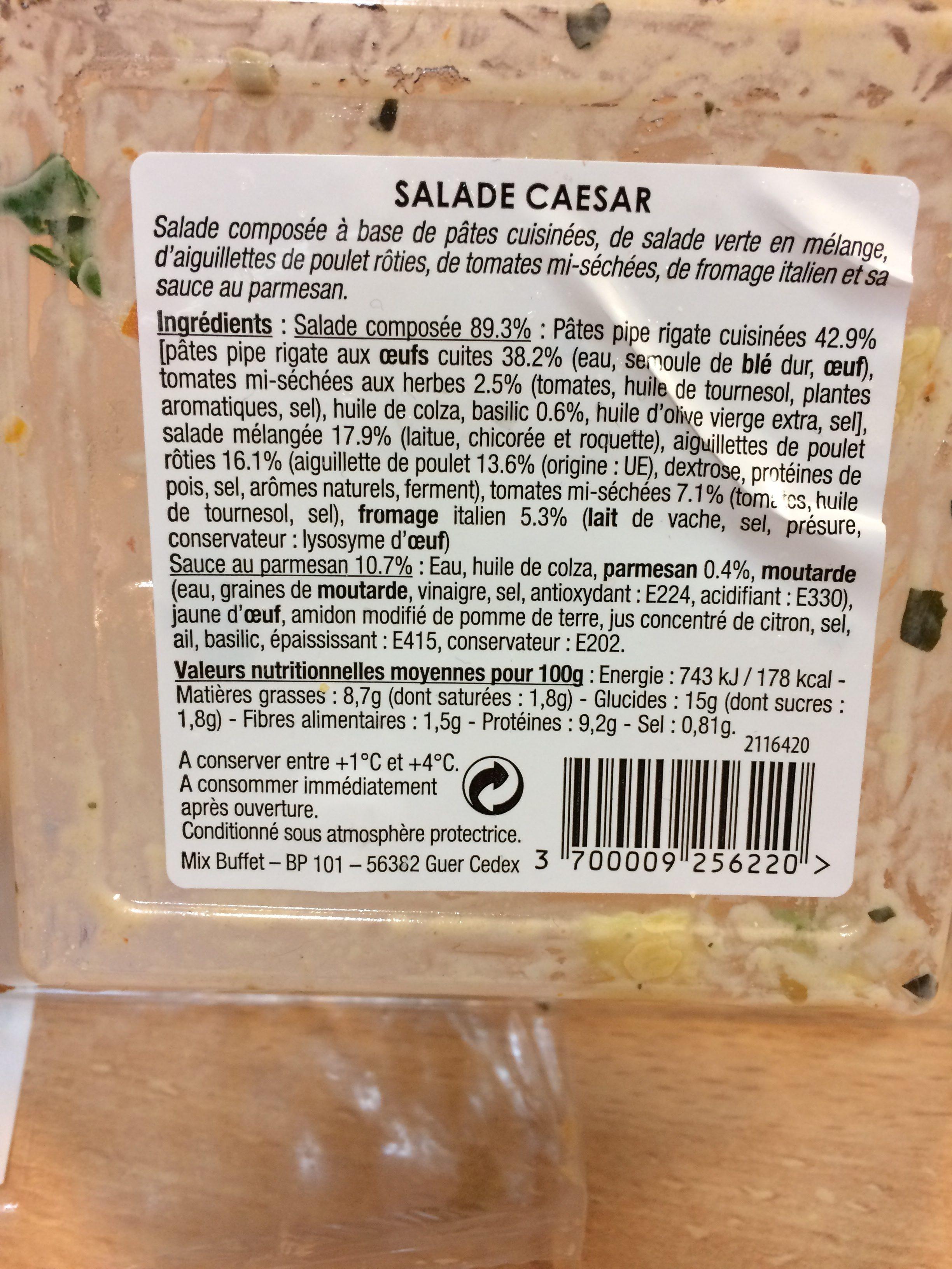 Salade Caesar : Penne & Émincés de Poulet rôti - Ingrédients