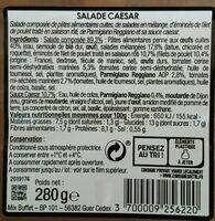 Salade Caesar : Penne & Émincés de Poulet rôti - Informations nutritionnelles