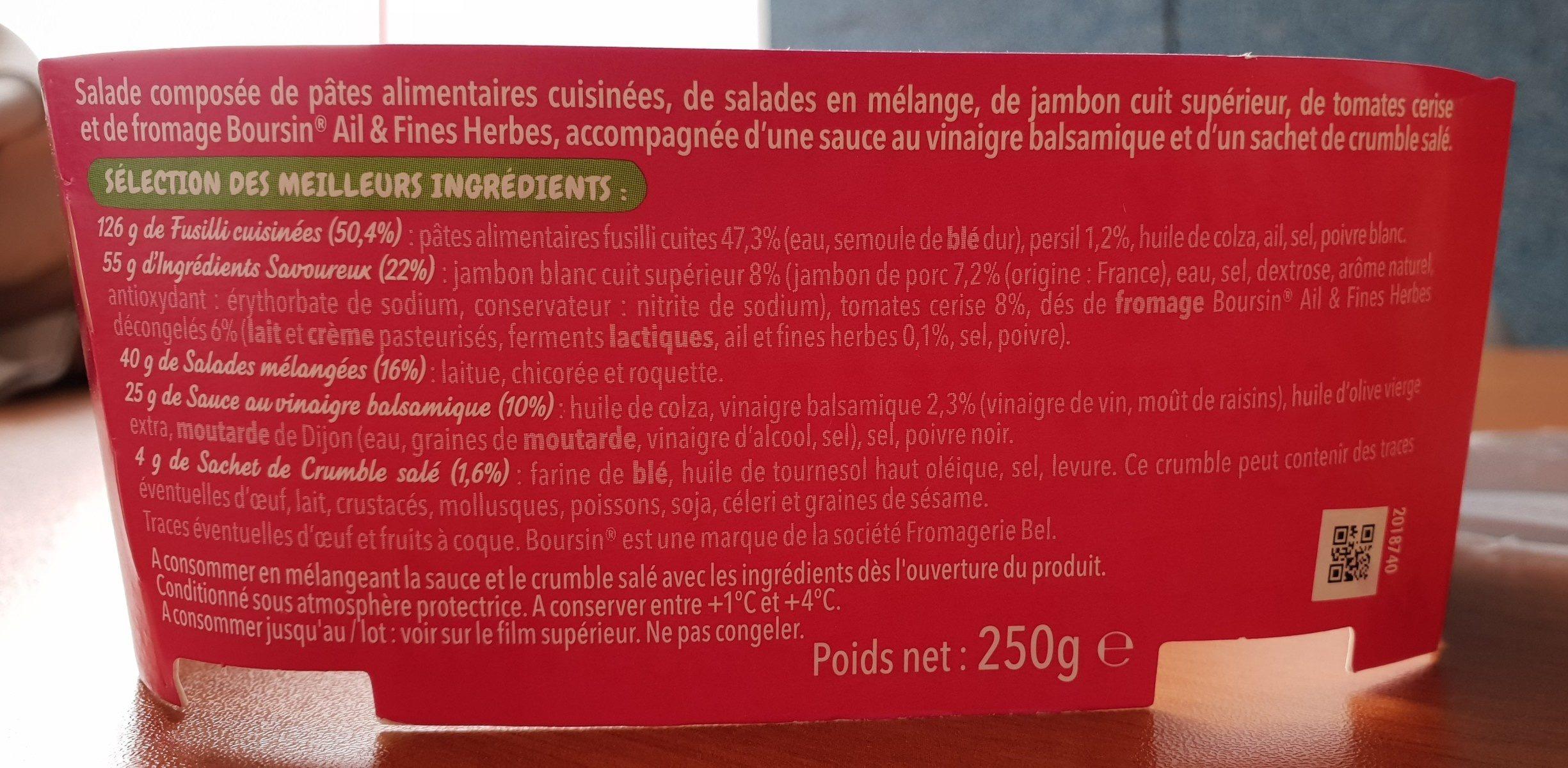 Salade&fusilli jambon fromage boursin - Ingredients