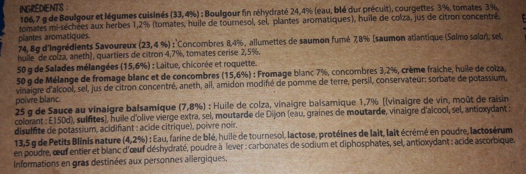 Salade Mezze Saumon Fumé 320g - Ingrédients - fr