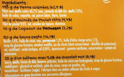 Penne - poulet Parmesan & sauce pesto - petit brownie au chocolat - Ingredients - fr