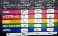 Penne - poulet Parmesan & sauce pesto - petit brownie au chocolat - Nutrition facts - fr