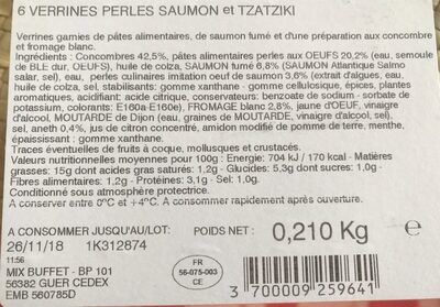 Verrines perles saumon et tzatziki - Ingredients - fr