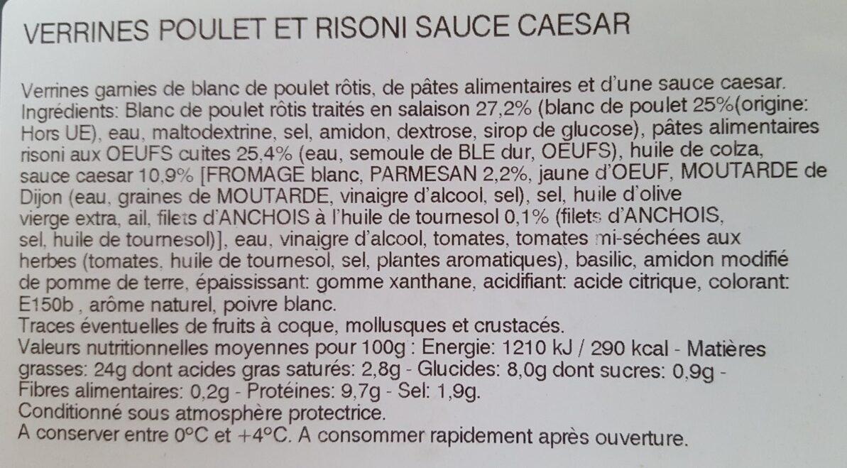 Verrine poulet et risoni sauce caesar - Ingredients - fr