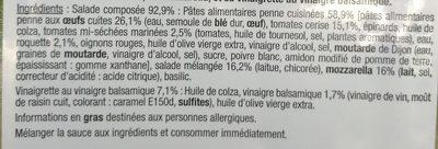 Toscane Penne & Mozzarella - Ingrédients - fr