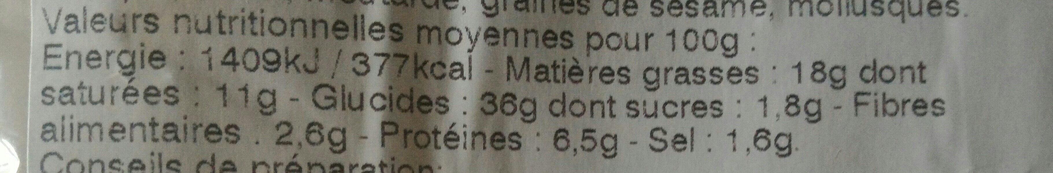 Mini-préfou Chèvre tomates basilic - Voedingswaarden