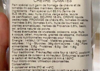 Mini-préfou Chèvre tomates basilic - Nutrition facts
