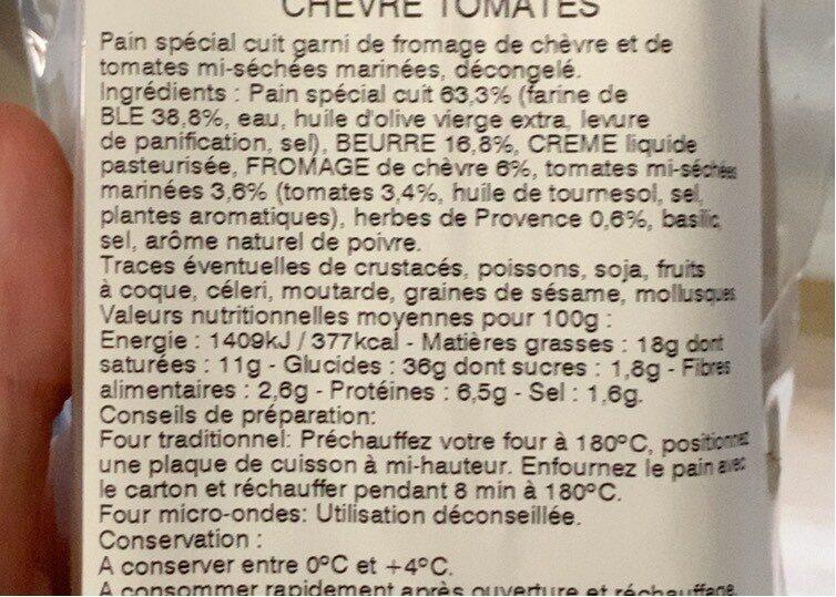 Mini-préfou Chèvre tomates basilic - Voedingswaarden - fr