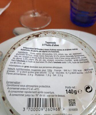 Tapenade - Informations nutritionnelles - fr