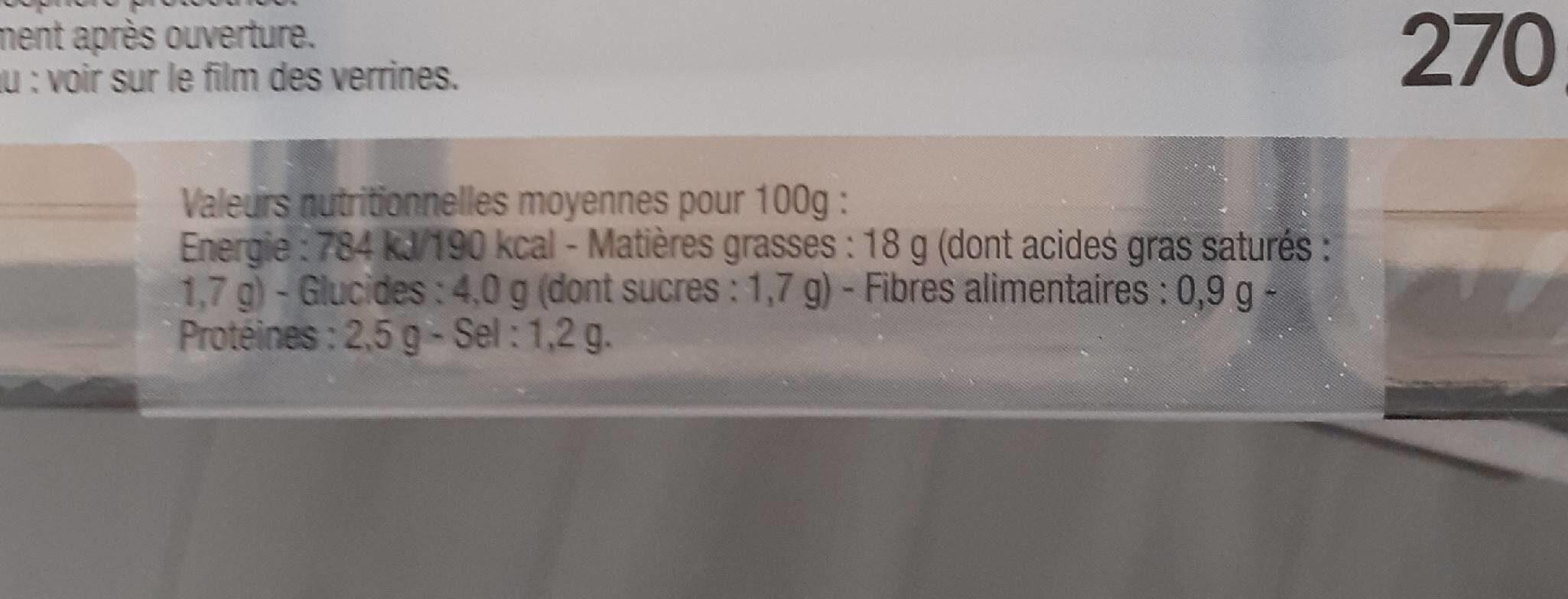 Tartare de concombre et surimi - Nutrition facts - fr