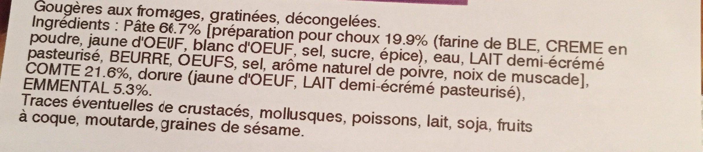 Gougeres gratinees fromage - Ingrediënten
