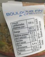 Boulgour fin et chèvre - Nutrition facts