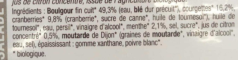 Salade de boulgour courgettes - Ingrediënten