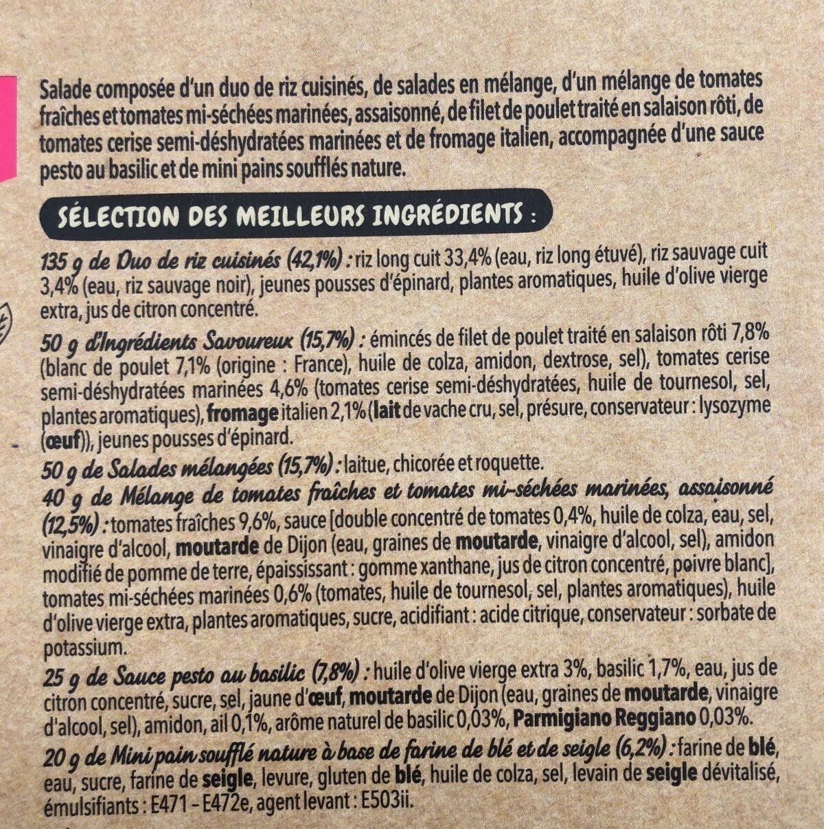 Salade Mezze Duo de riz crudités Poulet rôti, 320g - Ingrédients - fr