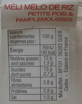 Meli melo de riz petits pois et pamplemousses - Informations nutritionnelles - fr