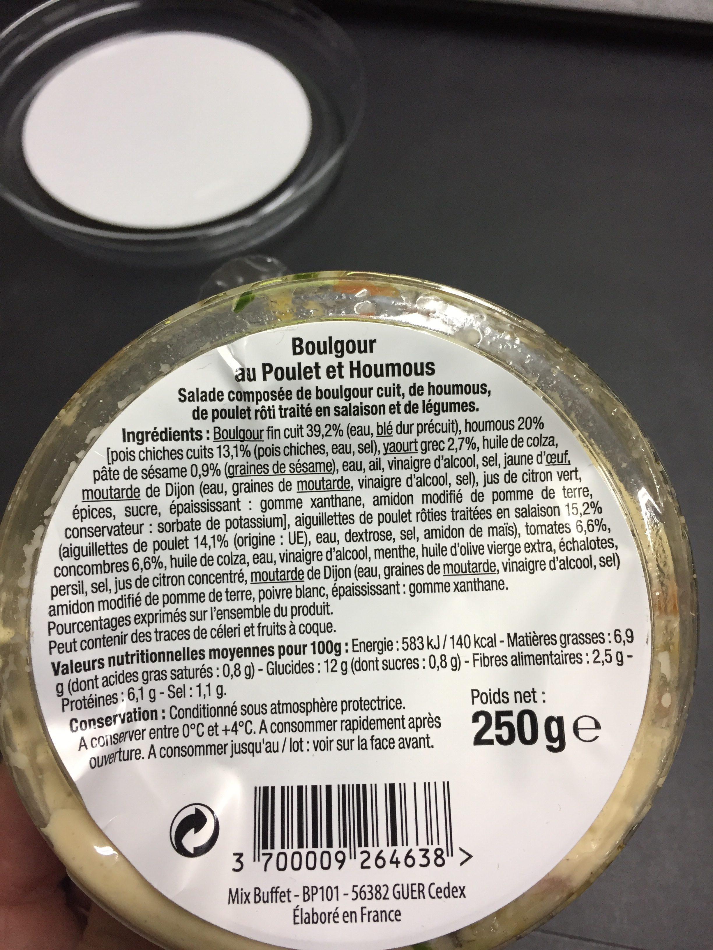 Boulgour poulet et houmous - Ingredients