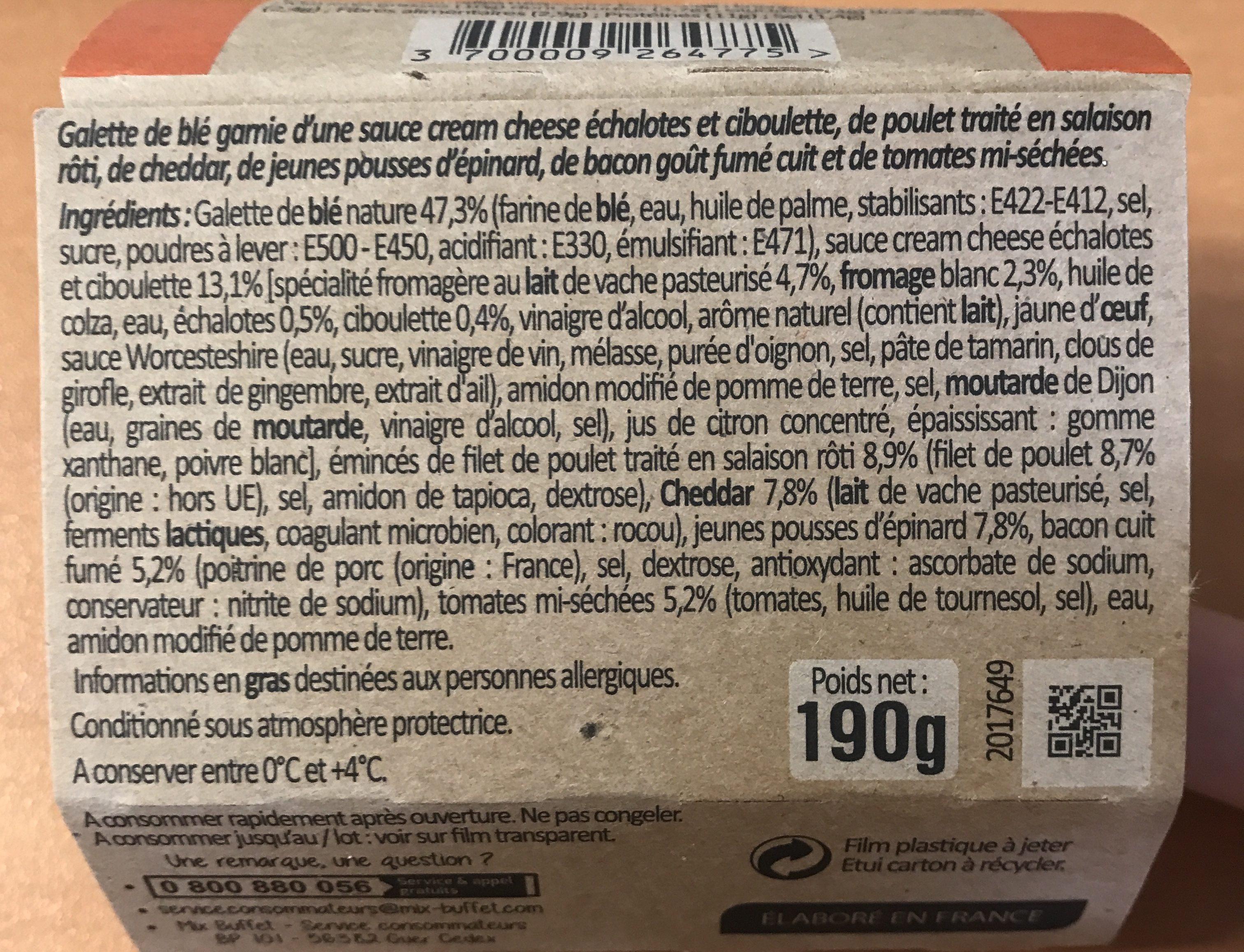 Wrap Poulet Bacon, 190g - Ingrédients - fr