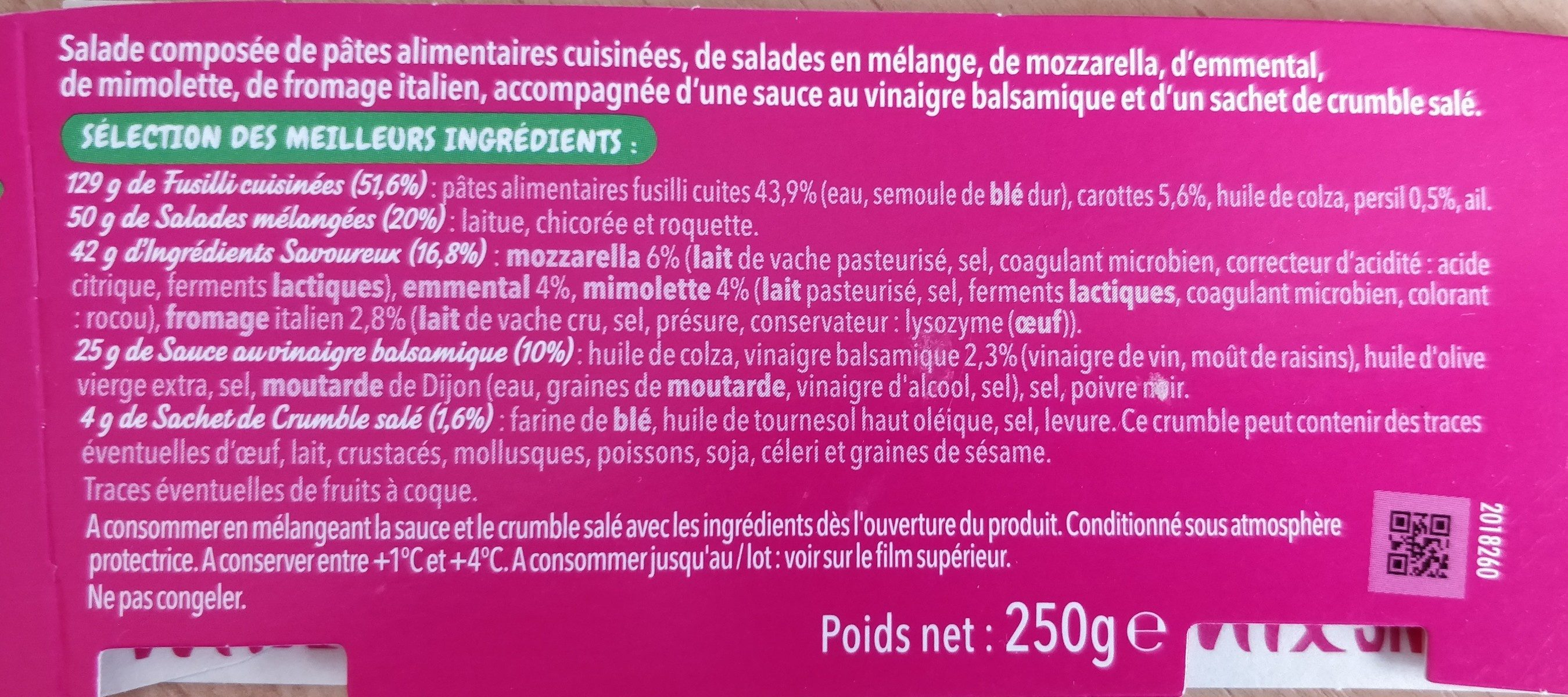 Salade et fusilli 4 fromages - Ingredients
