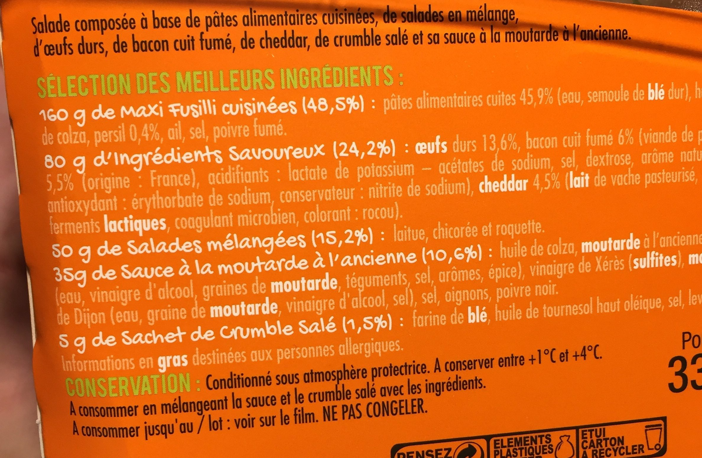 Extra Salade & Fusilli Bacon-Cheddar, 330g - Ingrédients - fr