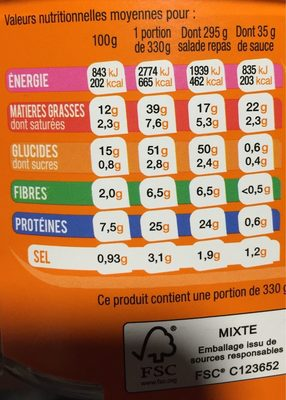 Extra Salade & Fusilli Bacon-Cheddar, 330g - Informations nutritionnelles - fr