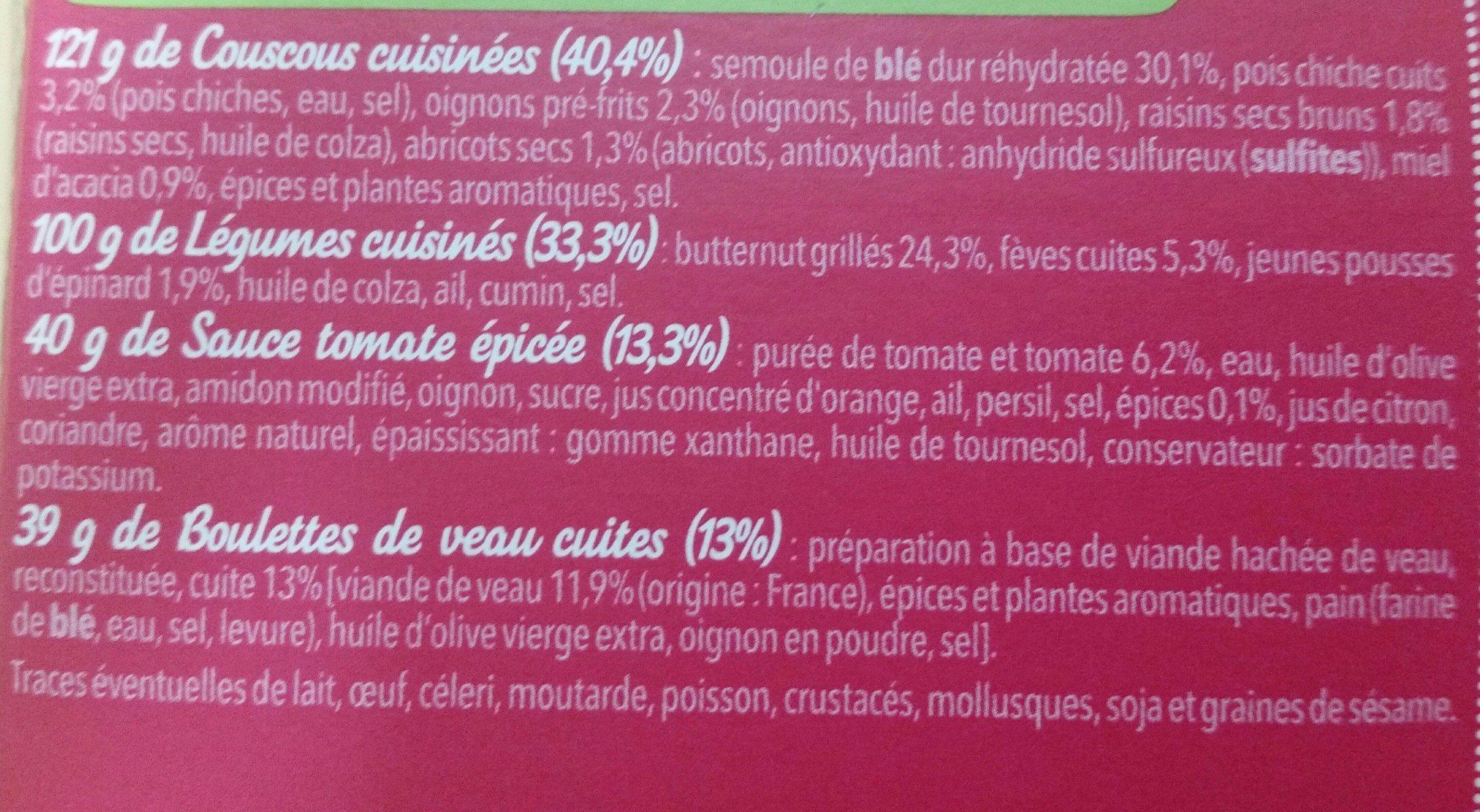 Boulettes de veau à la Marocaine, 300g - Ingrediënten - fr