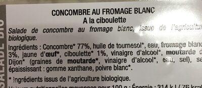 Concombre au fromage blanc - Ingrédients - fr