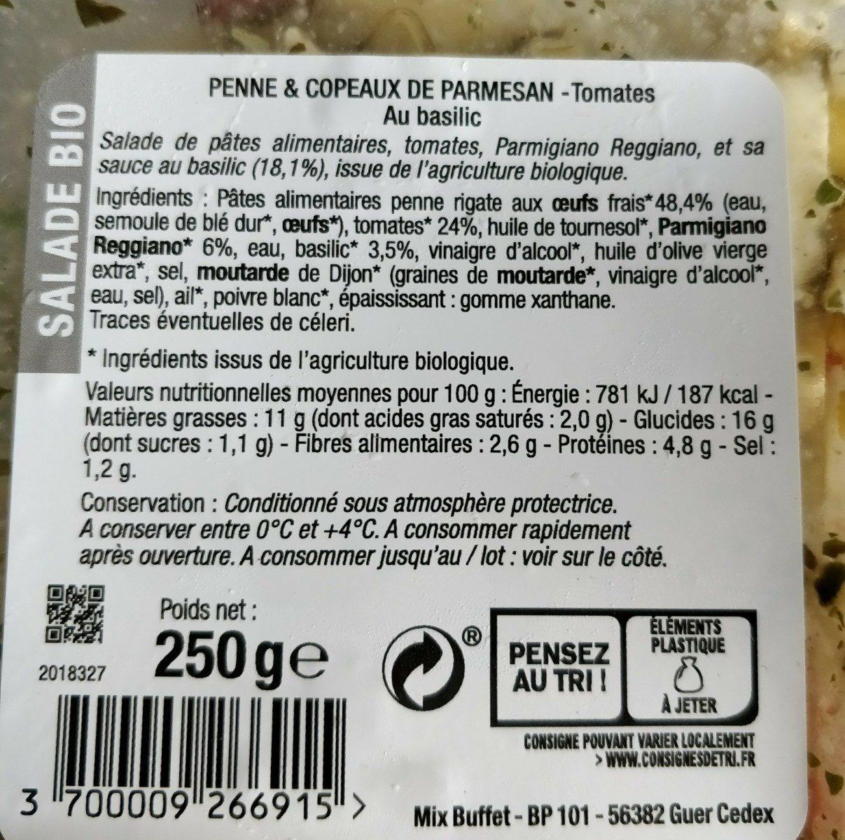 Penne et copeaux de parmesan - Ingrediënten