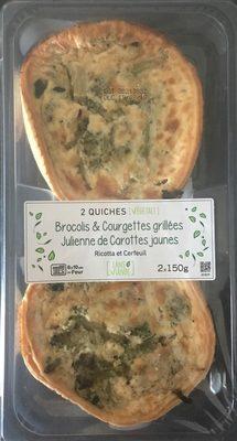2 Quiches Végétal ! Brocolis & Courgettes Grillées, Julienne de Carottes Jaunes, Ricotta & Cerfeuil - Produit