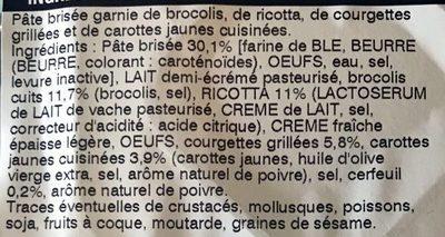 2 Quiches Végétal ! Brocolis & Courgettes Grillées, Julienne de Carottes Jaunes, Ricotta & Cerfeuil - Ingrédients - fr