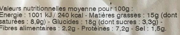 2 Quiches Végétal ! Brocolis & Courgettes Grillées, Julienne de Carottes Jaunes, Ricotta & Cerfeuil - Informations nutritionnelles