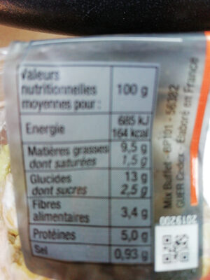 Boulgour fin chevre et feves de soja - Nutrition facts