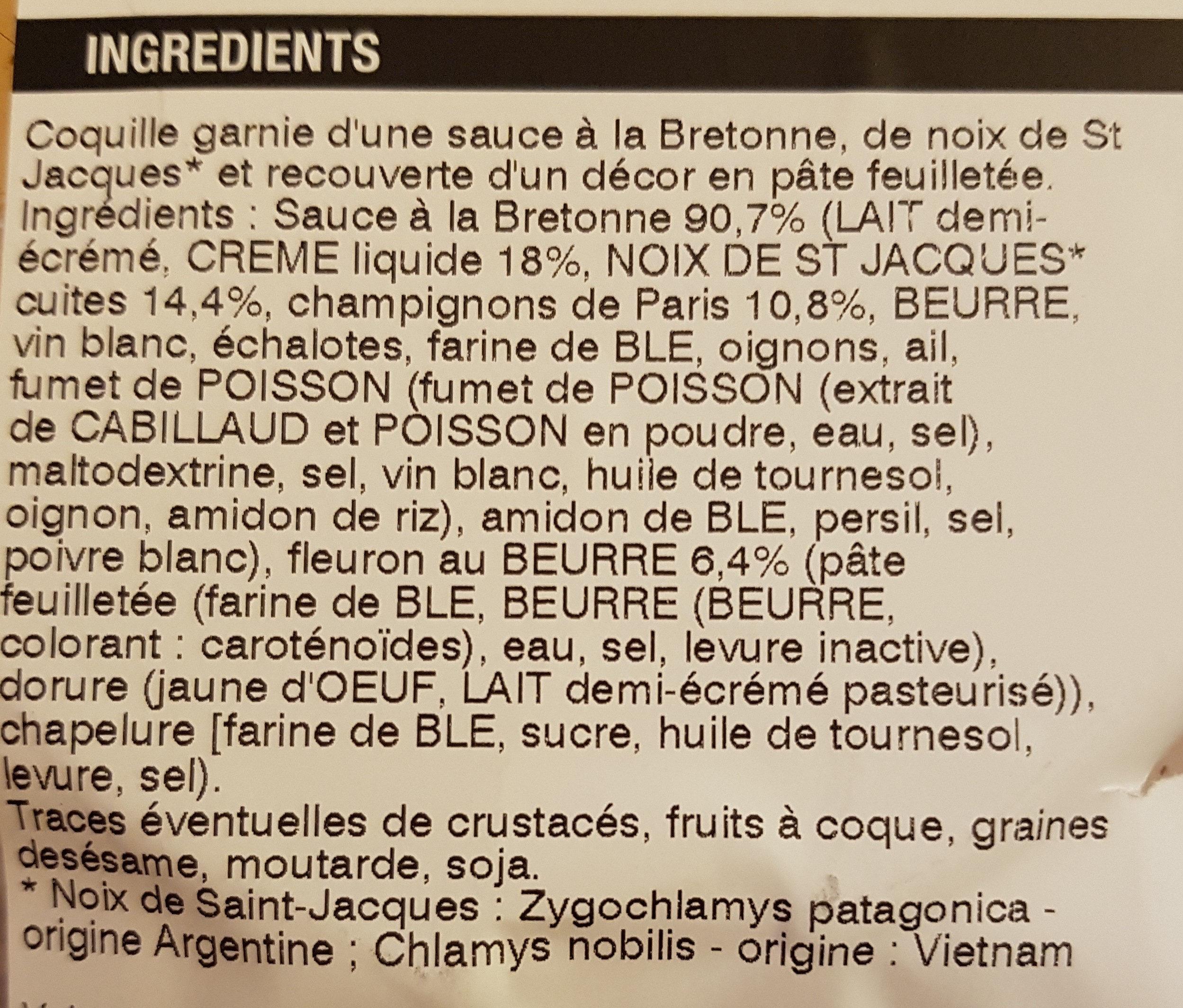 Coquilles Noix de St Jacques à la Bretonne - Ingrediënten