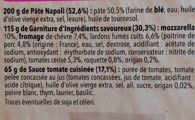 Pizza del gusto Chèvre Lardons - Ingrédients
