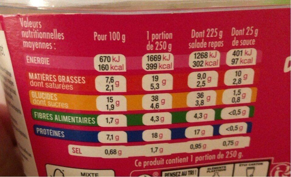 Salade & fusili poulet pesto - Nutrition facts - fr